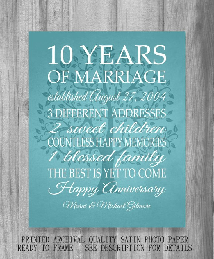 Wedding Anniversary Dates And Gifts: 10 Year Anniversary Gift Canvas Print Wedding Anniversary