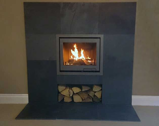 Contura i6 inset - slate hearth and backing - Scarlett Fireplaces