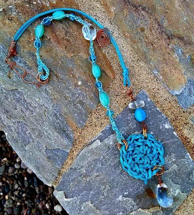 Makrame...crochet...wirework...copper, suede, glass beads in shades of turquoise...this necklace has it all!  #handmade #necklace #makrame #wirework #crochet #beaded #wehearthandmadebling