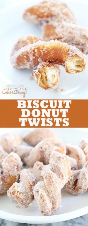 A simple batch of gluten free biscuits is quickly cut into rounds, twisted and fried into the flakiest gluten free biscuit donut twists you've ever seen. http://glutenfreeonashoestring.com/gluten-free-biscuit-donut-twists/