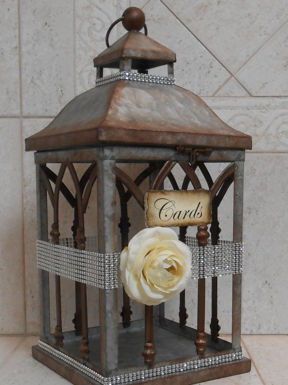 Wedding Lantern Card Holder / Card Box / Wedding by TheLaceMoon - like the idea of using a lantern shape for a card holder
