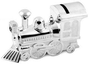 Christening Gifts Boys or Girls Large Silver Train Money Box