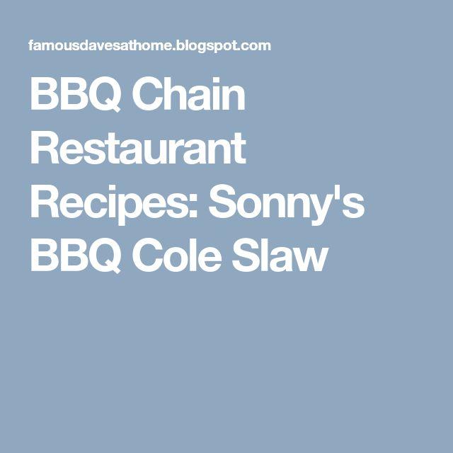 BBQ Chain Restaurant Recipes: Sonny's BBQ Cole Slaw