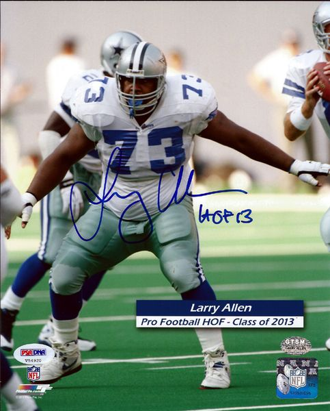 This is an 8x10 photo that has been hand signed by Larry Allen. It comes with the tamper-proof PSA/DNA sticker and matching certificate for authentication.