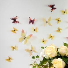 Papillons 3D jaunes - 18 stickers papillons 3D authentiques