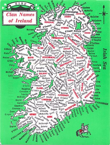 Map of Clan Names of Ireland. Note: McGowan, Smith in Cavan. Also, McCandless in Co Down (south-east).