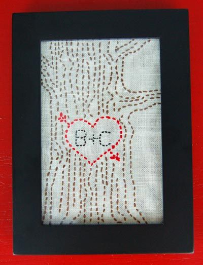 Heart Tree Carving Embroidery Pattern Tutorial