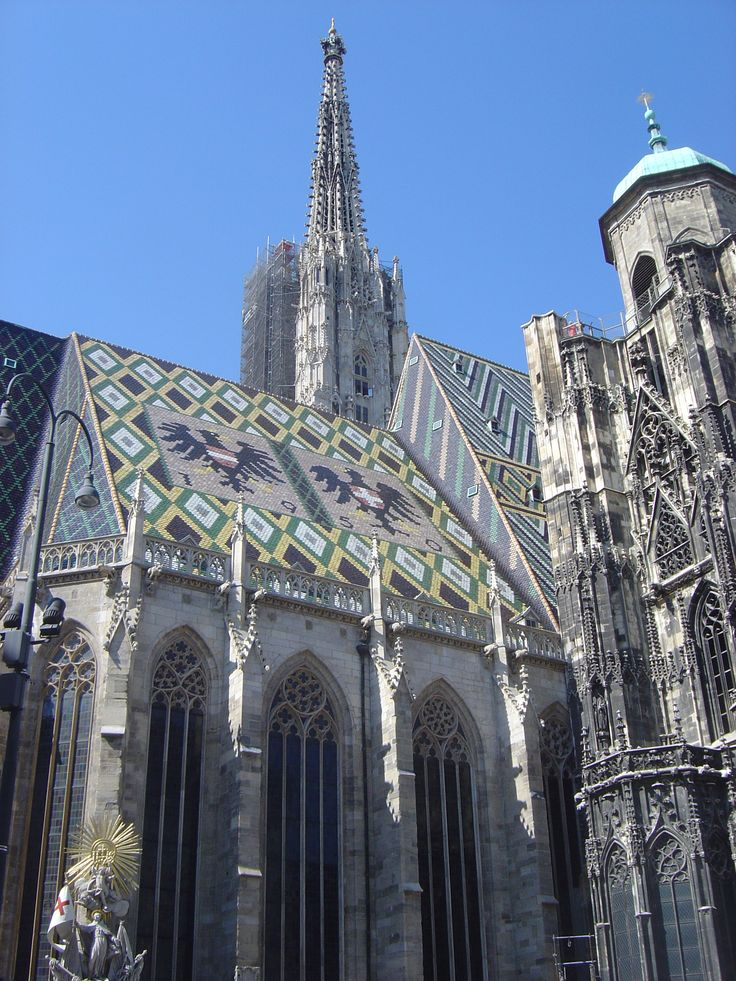 St. Stephen's Cathedral. A very unique Gothic cathedral I saw in Vienna. The roof is covered in colored tiles.
