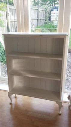 Simply replace backs of a bookcase with beadboard, add legs and paint! What a transformation! ♥️