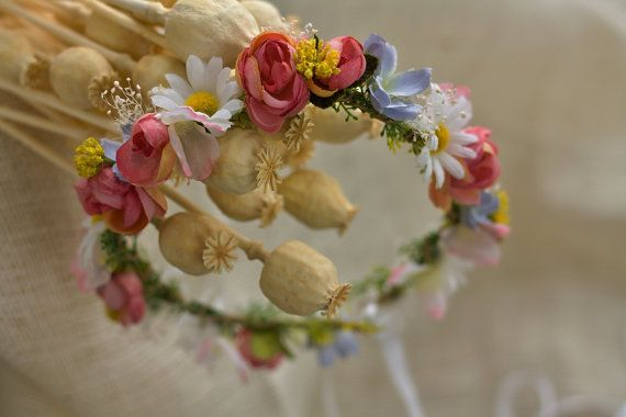 Flower head wreath head piece colorful summer by EvaFlowersDesigns