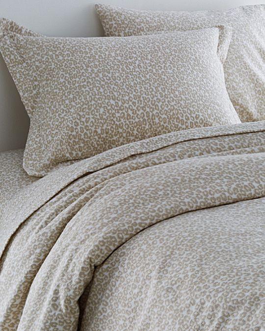 Garnet Hill Signature Leopard Flannel Bedding, $36-$188, Garnet Hill