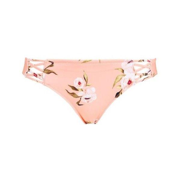TopShop Posie Pink Bikini Bottoms ($30) ❤ liked on Polyvore featuring swimwear, bikinis, bikini bottoms, bikini swimwear, bikini two piece, bikini bottom swimwear, swim bikini bottoms and topshop swimwear