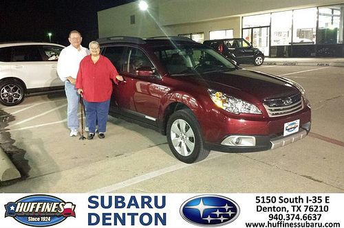 Thank you to Carl Lane on the 2012 Subaru Outback from Jerry Paredes and everyone at Huffines Subaru Denton!