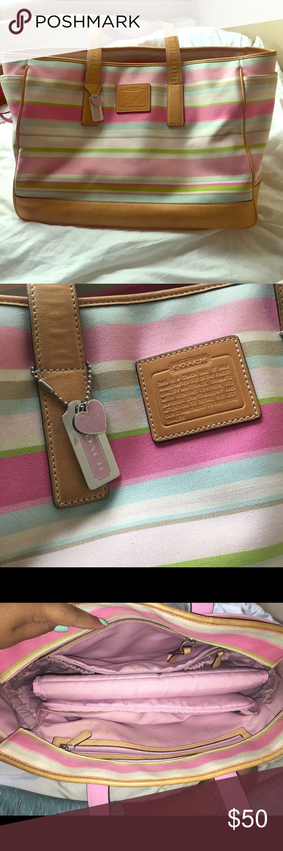 """Coach Diaper Bag Cue striped diaper bag! Pre-loved with so color fading as well as a bit of stain-age. TONS of pockets and storage  Measurements: 16"""" by 11"""" by 7"""" Straps: 28"""" total per strap Coach Bags Travel Bags"""