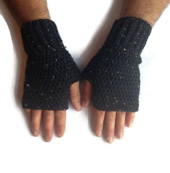 Mens fingerless gloves, crochet gloves, fingerless mittens, gifts for men, fingerless gloves for men, winter gloves for men.