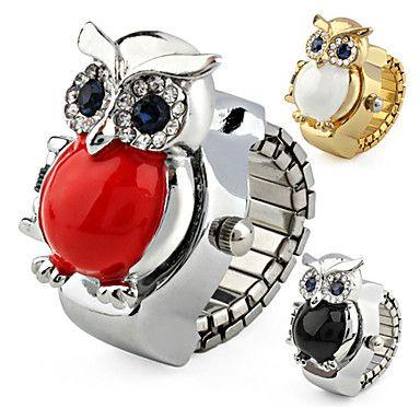 Dames+Modieus+horloge+Kwarts+Legering+Band+Glitter+Uil+Zilver+Goud+Zwart+Rood+Gouden+–+EUR+€+5.87