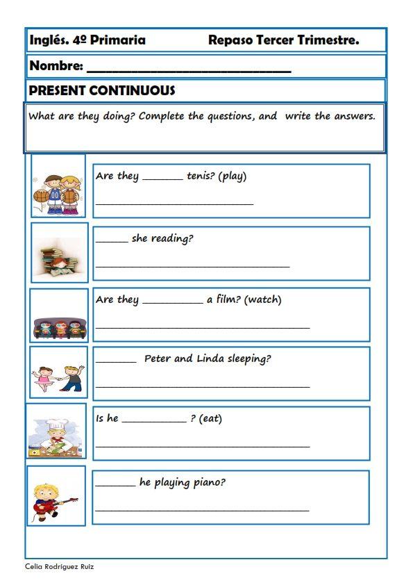 Fichas inglés cuarto primaria. Niños de 9-10 años | English | Fichas ...
