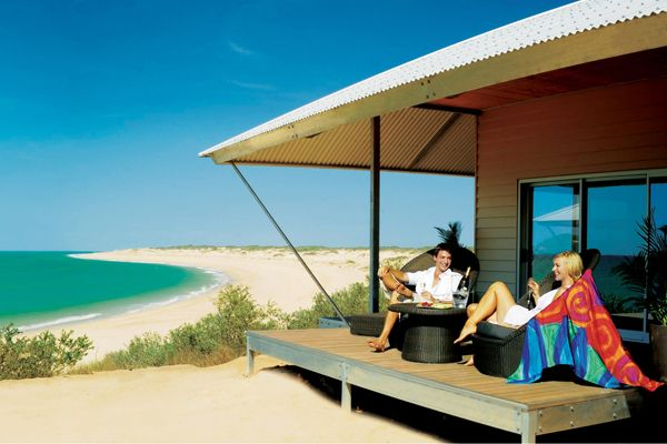 Eco Beach Resort Broome - a million miles from anywhere you have ever been before. Eco Beach is set amongst the pristine and untouched Kimberley environment. Just over an hour's drive south of Broome, accommodation at the eco resort provides guests with an unforgettable and unique wilderness experience whilst having minimal impact on the surrounding landscape.