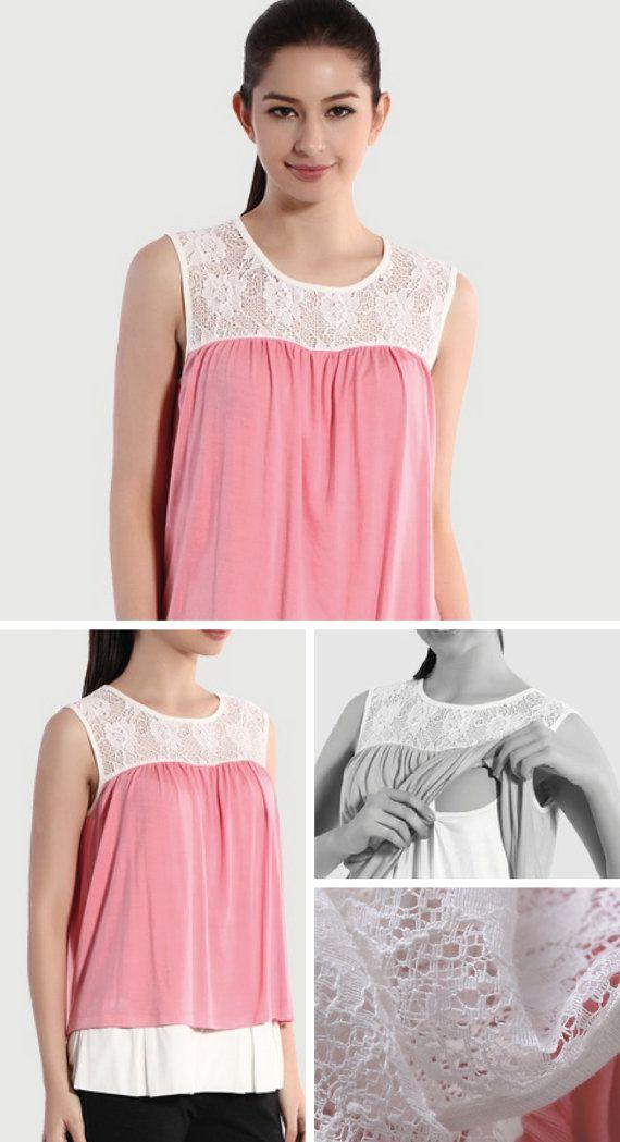 PINK LACE PANEL Nursing Top Pink Nursing Shirt Pink by BESLOV