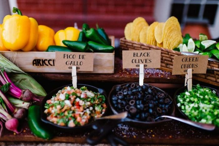 Having guests build and customize their own meal is a great way to make your buffet more interactive while allowing everyone to get creative and get the meal they really want. Source: rebeccareadphotography.com #weddingbuffet #weddingfood #reception