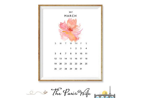 2017 Monthly Printable Calendar Instant Download 2016 Monthly Calendar 2017 Watercolor
