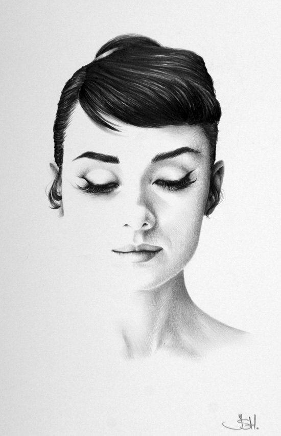 Audrey Hepburn Original Pencil Drawing Minimalism Fine Art Portrait Glamour Beauty Classic Hollywood 1950s SALE. $169,99, via Etsy.