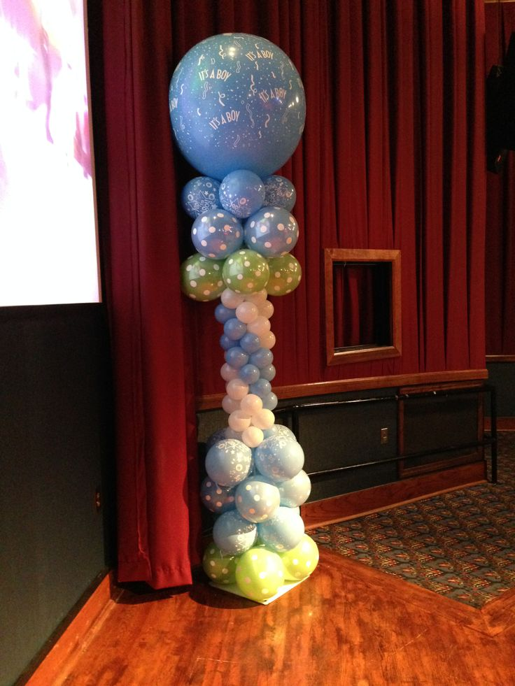 Baby shower balloon column it 39 s is a boy balloon column for Balloon column decoration