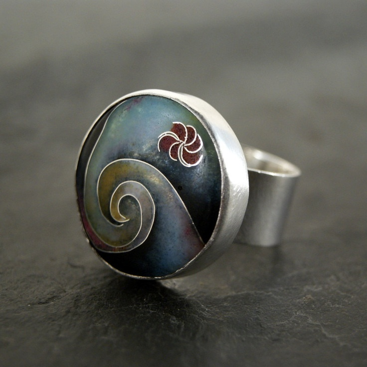 Ring | Anatomi Designs. Sterling silver and cloisonne enamel