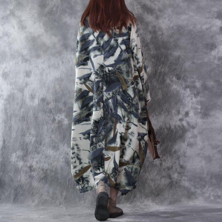 Retro Long Sleeves Loose Linen Dress