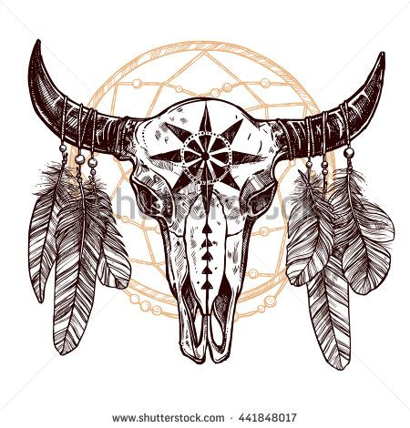 Boho Buffalo Skull With Feathers And Dreamcatcher. Hand Drawn Sketch. Native American Totem