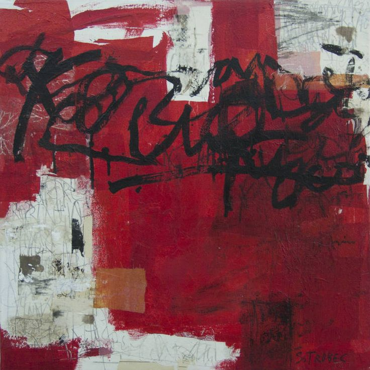 """""""Red Tape,"""" red abstract painting by artist Špela Trobec available at Saatchi Art #red"""