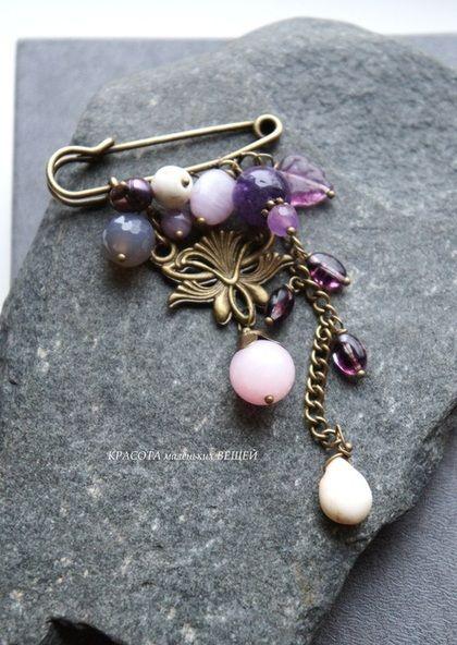 """Брошь """"Lavender"""" - фиолетовый,сиреневый,розовый,брошь,брошь-булавка,булавка"""