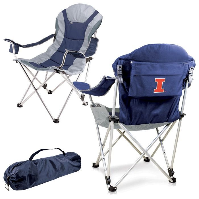 Illinois Fighting Illini Blue Reclining Camp Chair.  Great as a spectator chair at sporting events or outdoor activities. Visit SportsFansPlus.com for Details.
