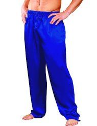 Men's Blue Classic Satin Sleep Pajama Pants:Wide elastic waist band with drawstring-Side seam pockets