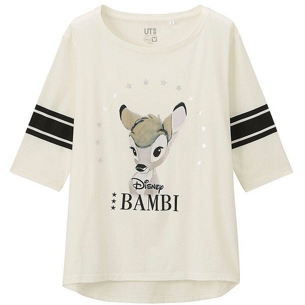 UNIQLO DISNEY PROJECT 3/4 Sleeve Graphic T-Shirt (Bambi) ($20) ❤ liked on Polyvore featuring tops, t-shirts, shirts, disney, white cotton shirt, graphic design t shirts, graphic shirts, cotton shirts and 3/4 length sleeve t shirts