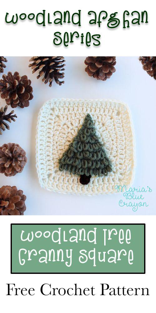 Tree Crochet Granny square | Woodland Afghan Series | Free Crochet Pattern
