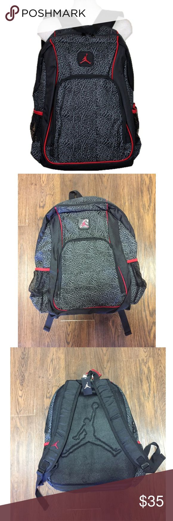 """Air Jordan Elephant/Cement Print Backpack/Laptop Brand : Nike Air Jordan Brand  Color : Black/Red  Measurements : 18"""" H x 14"""" W  Material : 100% Polyester  100% AUTHENTIC Elephant/Cement Print throughout the bag  Two side Mesh pockets for drinks  Padded adjustable straps  Large main zippered compartment for the laptop  Additional front zippered media compartment  Large Jumpman logo on the back of the bag  BRAND NEW WITH TAGS Nike Other"""