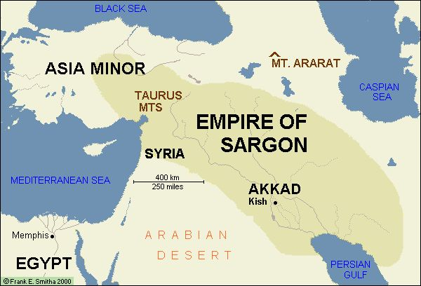Empire of Sargon. The Akkadian Empire /əˈkeɪdiən/[2] was an ancient Semitic empire centered in the city of Akkad /ˈækæd/[3] and its surrounding region in ancient Mesopotamia which united all the indigenous Akkadian speaking Semites and the Sumerian speakers under one rule within a multilingual empire. The Akkadian Empire controlled Mesopotamia, the Levant, and parts of Iran. Empire: 2334-2193 BCE.