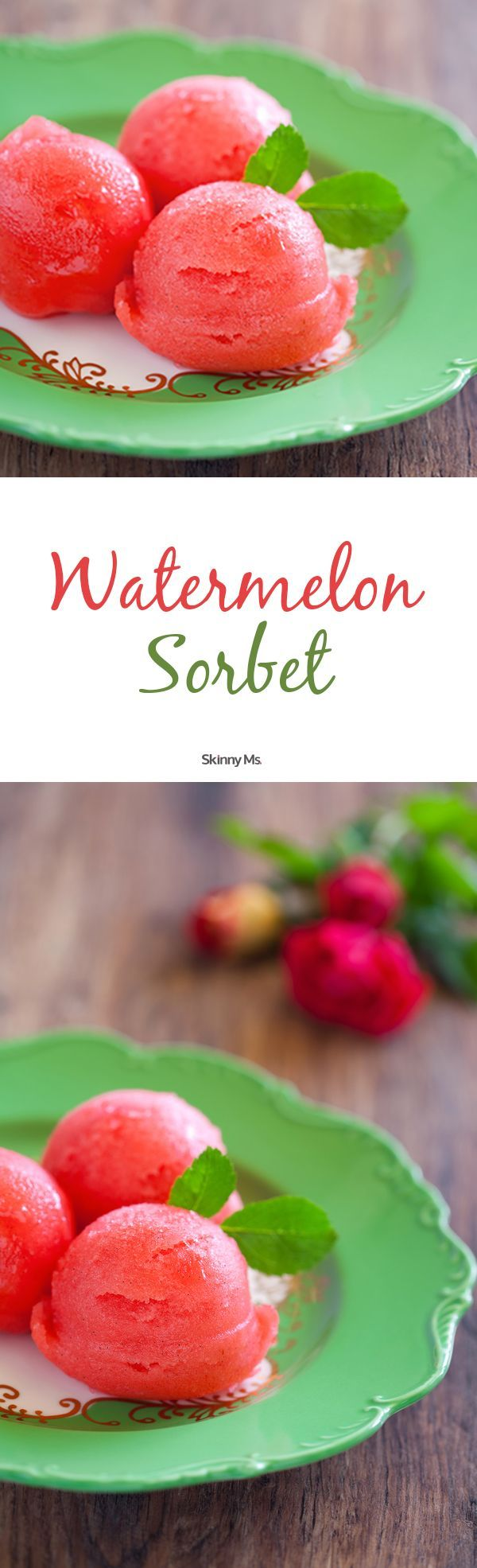 We don't skimp on tasty desserts. This 2-Ingredient Watermelon Sorbet is an easy and healthy no-bake way to tame your sweet tooth! #watermelonsorbet #watermelon #nobakedessert