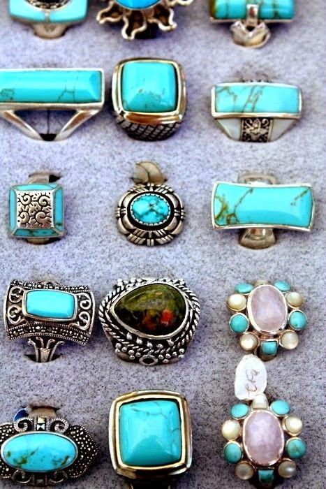 ☮ American Hippie - Silver Turquoise Rings