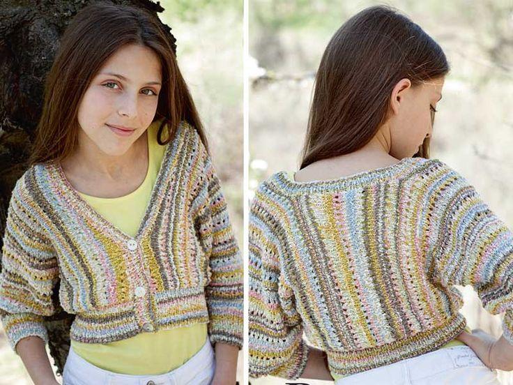Короткий жакет для девочки - схема вязания спицами. Вяжем Жакеты на Verena.ru