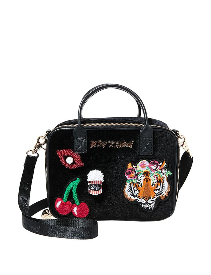 Betsey Johnson Velvet Lunch Box Tote Bag $33.99 Stage Stores
