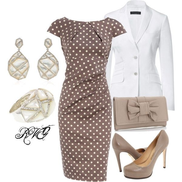 Polka dot so classic with the jacket it appears to be a suit for the office..for evening pull the jacket off form fitting dress..Jazz up the jewelry and put on some canary yellow stilletos and you are ready