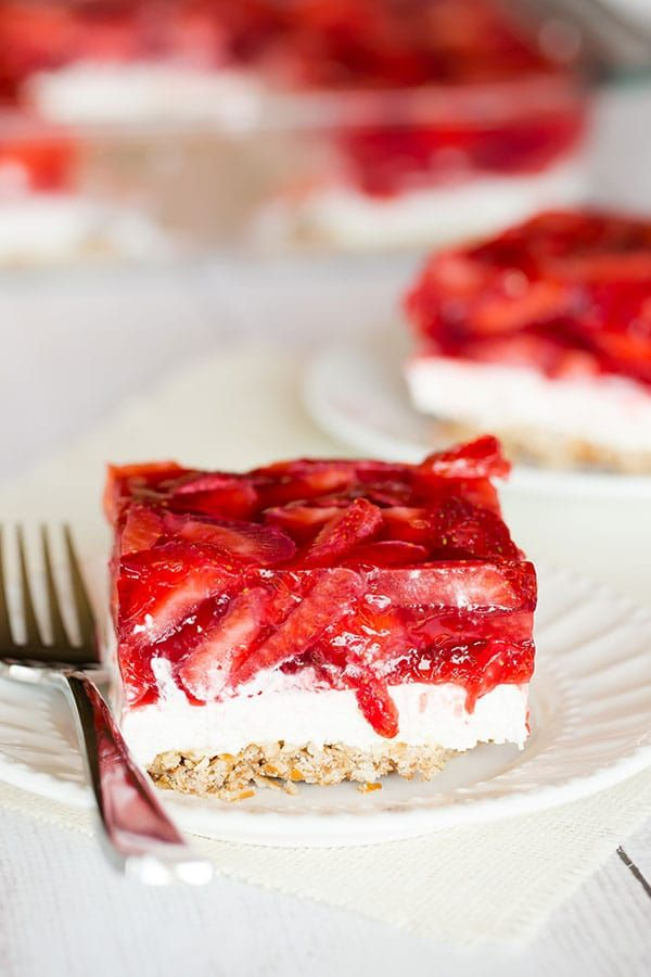 Strawberry Pretzel Salad - The absolutely wonderful nostalgic dessert that showed up at every summer family picnic growing up! | Perfect Easter Dessert! browneyedbaker.com