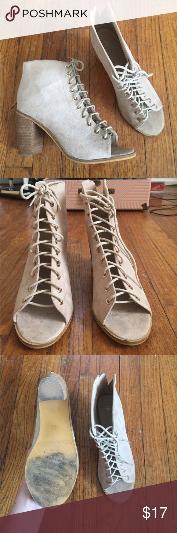 Lace Up Sandals Suede, lace-up sandals. Good condition, worn once or twice. Jeffery Campbell Dupe. Steven Ella Shoes Sandals