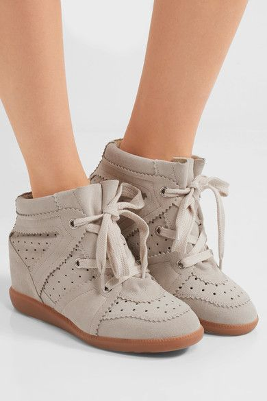 Concealed wedge heel measures approximately 50mm/ 2 inches Beige suede Lace-up front Designer color: Chalk