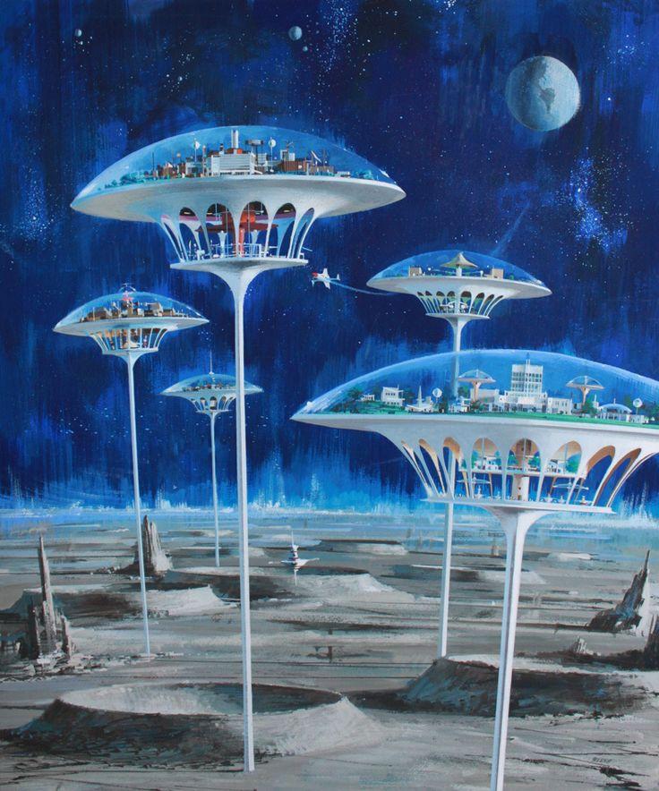 John Berkey - Moon Colonies (by myriac) http://70sscifiart.tumblr.com