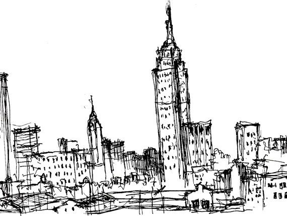 Empire State Building - Sketch on Etsy, $50.00: Building Sketch, Empire State