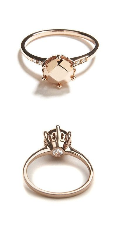 Rose Gold with a hidden champagne diamond. I have been obsessing over rose gold lately. This is so beautiful!