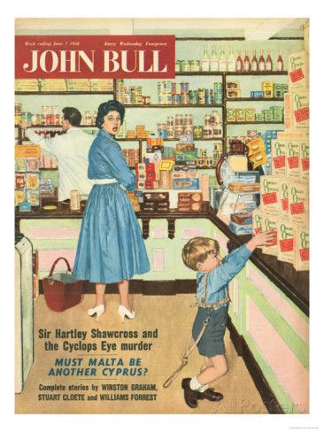 1950s shopping | John Bull, Disasters Shopping Magazine, UK, 1950 Lámina